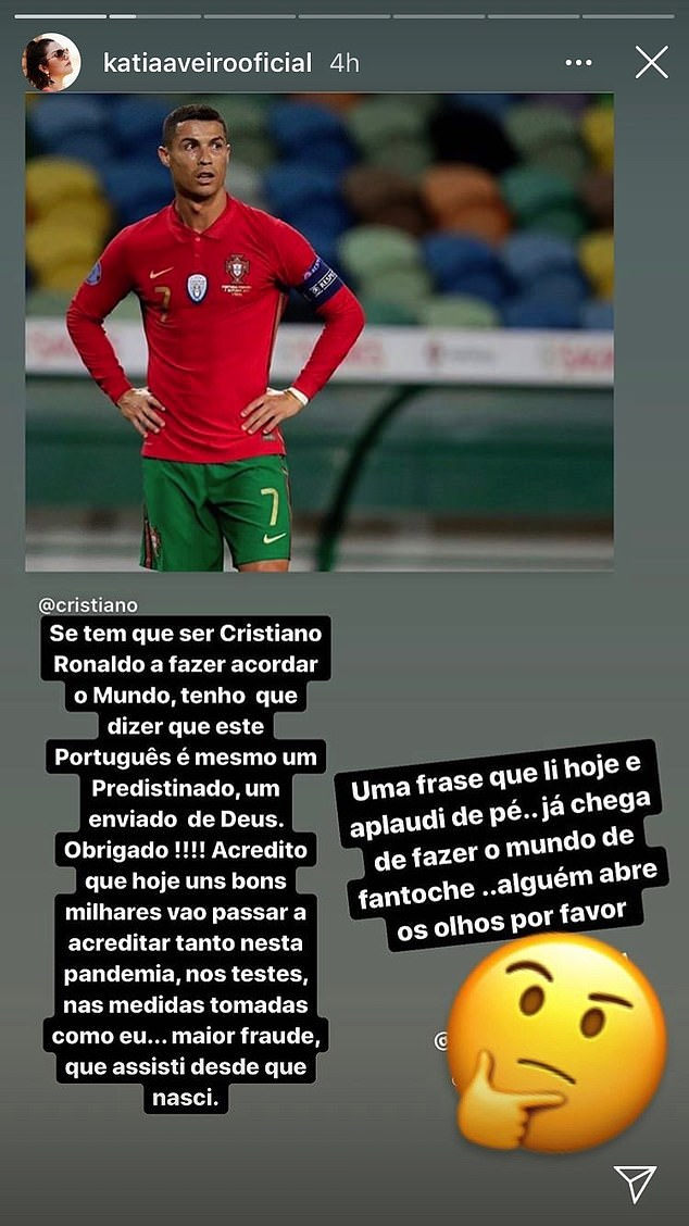 Ronaldo's sister Katia Aveiro controversially criticised Covid-19 as a 'fraud' on her Instagram page and said that her brother's positive test result can 'wake up the world'