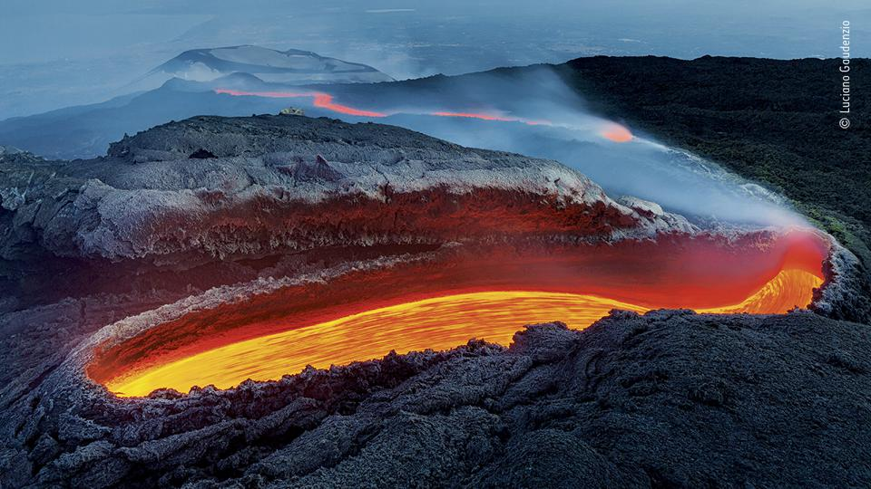 Wildlife Photographer of the Year:  Mount Etna, lava flows within a huge lava tunnel.