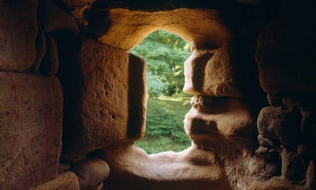 View from inside the 13th -century D-shaped tower in the upper ward of Ewloe Castle