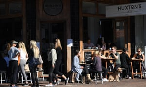 Diners are seen at a cafe in Bronte in Sydney.