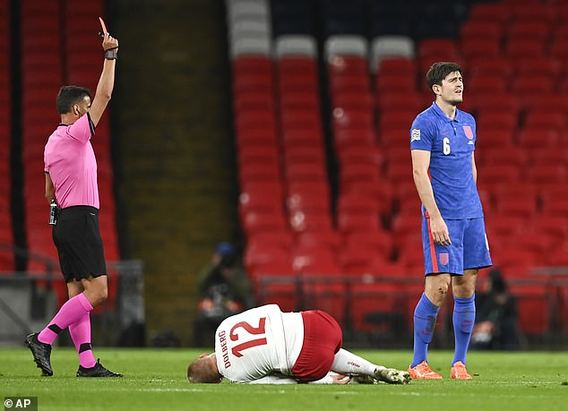 Maguire was sent off after just 31 minutes against Denmark following two yellow cards