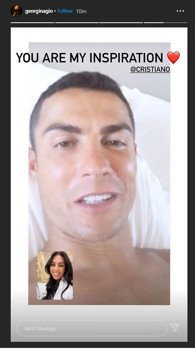 Ronaldo's girlfriend Georgina Rodriguez posted a picture that appeared to show her on a FaceTime call with the player, calling him 'my inspiration' after his positive test emerged