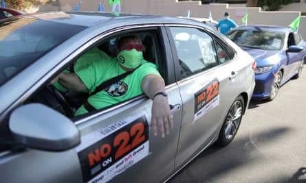 A protest by Uber and Lyft rideshare drivers against California's Proposition 22.