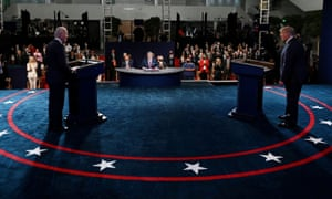 US President Donald Trump and Democratic presidential candidate, former Vice President Joe Biden, participate in the presidential debate in Cleveland, Ohio.