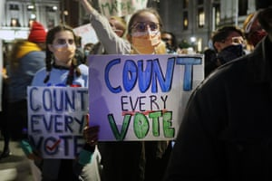People call for the counting of all votes in Philadelphia on Wednesday.