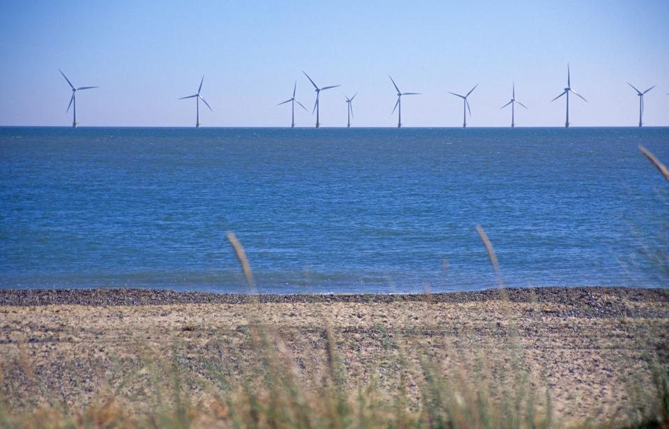 Scroby Sands offshore wind farm Caister Great Yarmouth Norfolk England