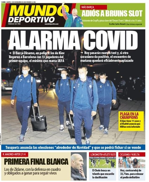 Only 13 first-team players from Dynamo Kiev made the trip to Barcelona on Monday