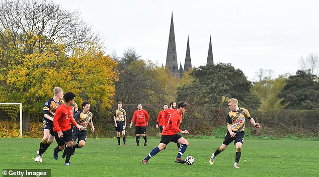 Non-elite football in England will be halted during the second national lockdown period (pictured, a Sunday league match between Linchfield Lions and Boldmere Wanderers)