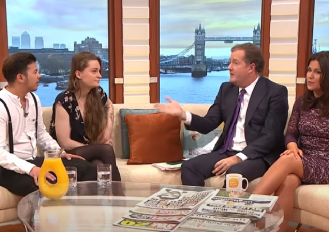 Owl with their partner Fox on Good Morning Britain with hosts Piers Morgan and Susanna Reid