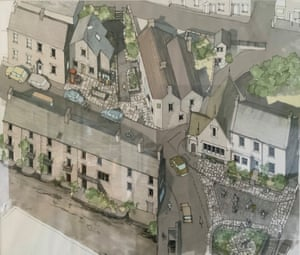 John McCall's drawing for the refurbishment of Memorial Square, Hayfield, Derbyshire, in 2009. This is now a vibrant meeting place for community gatherings.