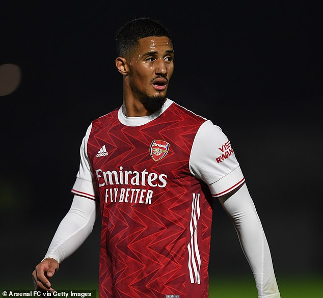 Arsenal's £27million defender William Saliba in action for their under-23 side last month