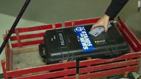 TV station WXYZ posted the contents of a red gear wagon.