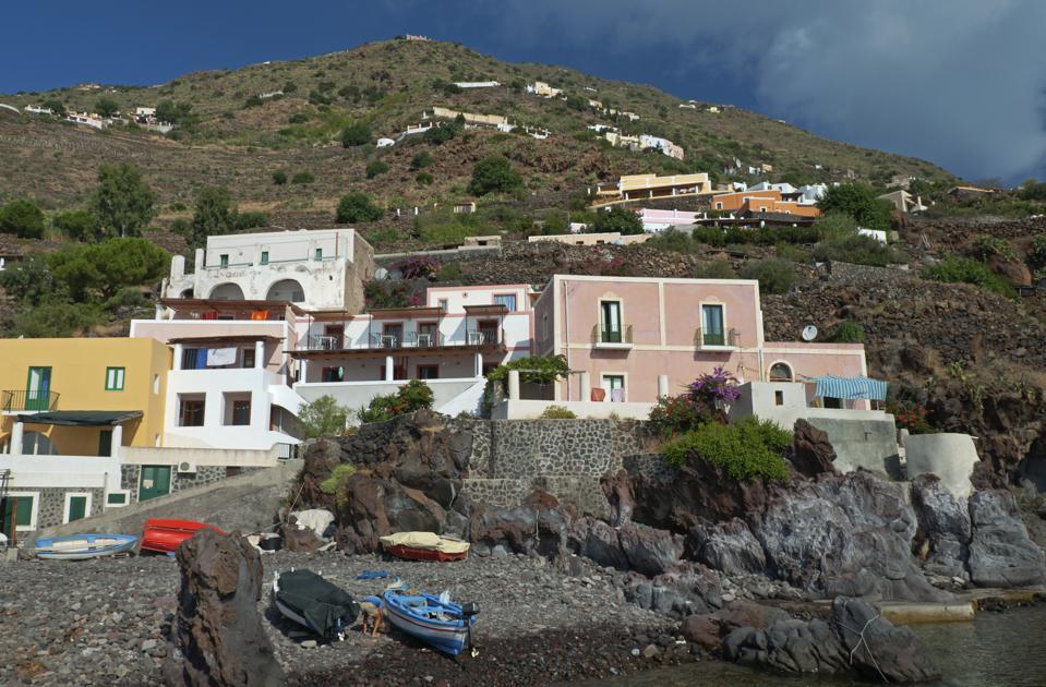 Village at the port on Alicudi, Sicily