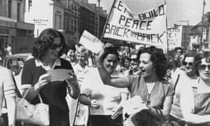 Peace People campaigners Betty Williams, front left, and Mairead Corrigan, front right, in 1976.
