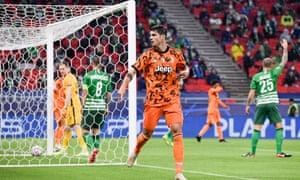 Álvaro Morata celebrates his first goal for Juventus against Ferencvaros.