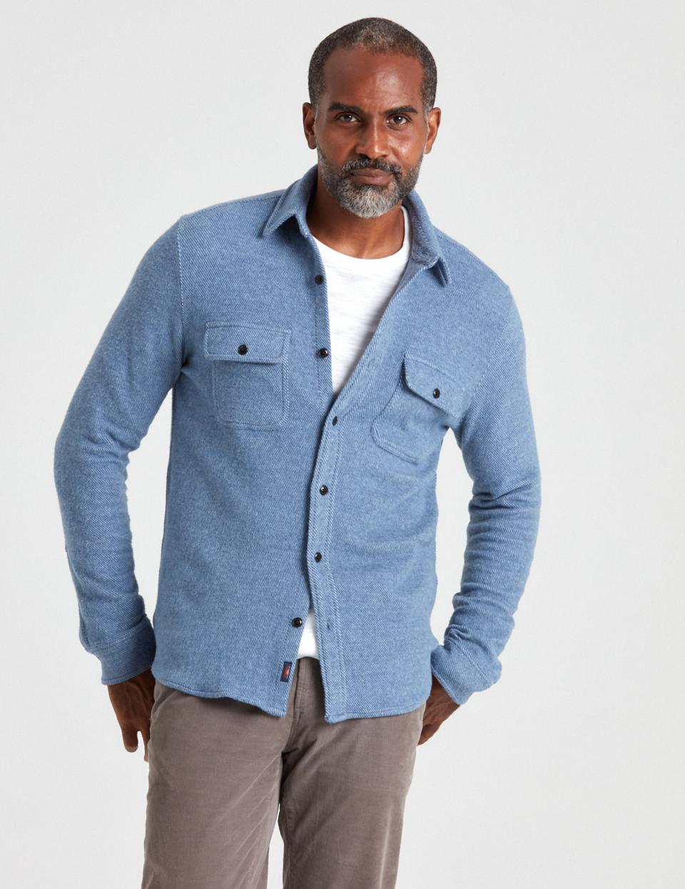 Faherty Legend Sweater Shirt in Washed Blue