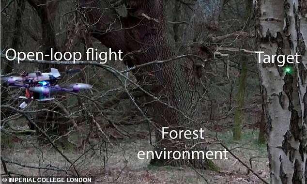 The drone is fitted with cameras that can be used to guide it towards a target, it is then able to fire the drones into a tree even in very dense forest environments with minimal movement