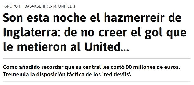 AS Diario described United as the 'laughing stock of England' following the 2-1 defeat in Turkey