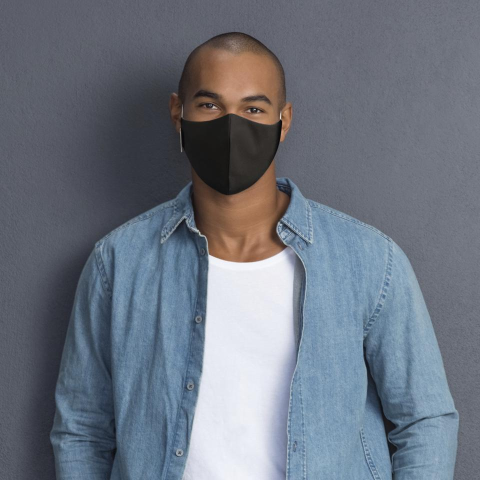 The Black Martex Health Triple-Layer Adult Face Mask with SILVERbac™ Antimicrobial Technology from WestPoint Home comes in single and three pack options.