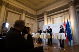 Federal Minister of the Interior of Austria Karl Nehammer speaks at a press conference.