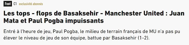 French newspaper L'Equipe described the 'tops and flops' on an embarrassing night for United