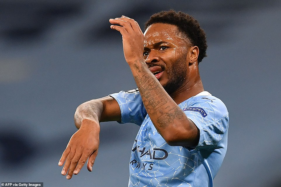Raheem Sterling reacts after the linesman raised his flag for offside after the forward thought he had scored a second