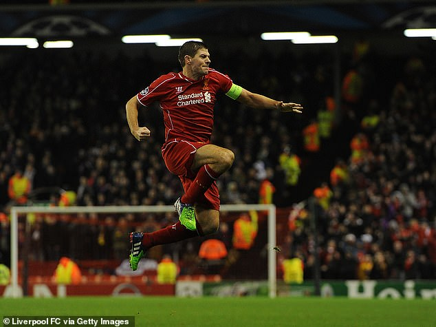 Steven Gerrard had held the record for his 21 strikes but Salah drew level with him on Tuesday