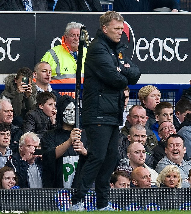 Former United boss David Moyes' last act in charge was a defeat at Goodison back in 2014 when someone dressed as the Grim Reaper sat just behind the under-pressure manager