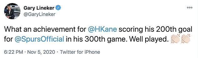 Former Spurs striker Gary Lineker lauded Kane after he reached the huge milestone
