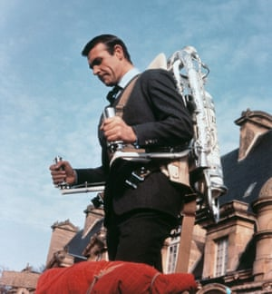 Sean Connery gets to grips with a jetpack in the 1965 James Bond film Thunderball.