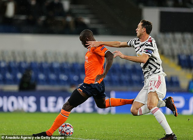 Nemanja Matic (right) attempted to make up the ground but was unable to stop Ba (left)
