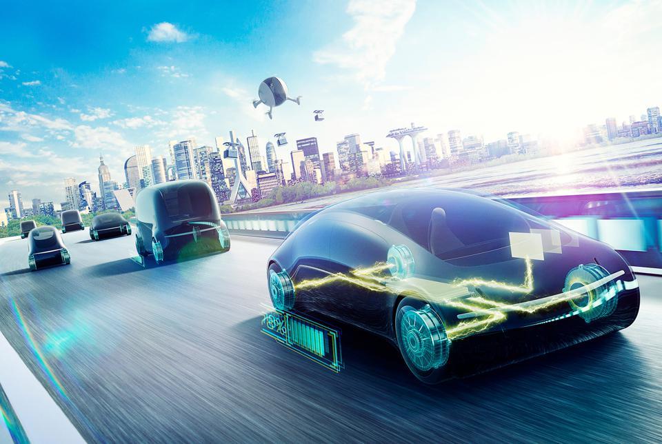 Futuristic vehicles showing an electrified powertrain