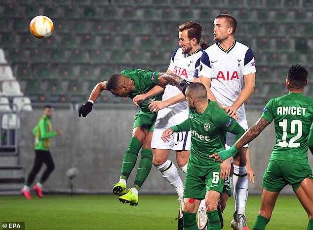 The England captain nodded Spurs ahead in their clash with Ludogorets in the Europa League