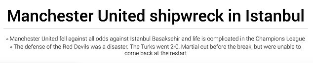 Spanish outlet Sport described the defending illustrated by United as a 'shipwreck in Istanbul'