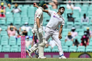 Ravichandran Ashwin of India bowls at the Sydney Cricket Ground on Sunday.