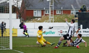 Chorley's Mike Calveley scores their second goal.