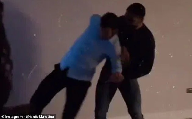 Crystal Palace captain Luka Milivojevic (left) celebrates at a New Year's Eve party with Fulham's Aleksandar Mitrovic – in another breach of Covid-19 rules by Premier League footballers