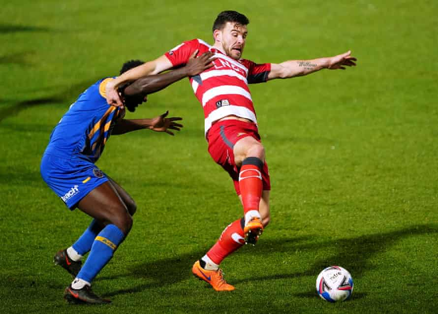 Andy Butler in League One action for Doncaster against Shrewsbury last month.