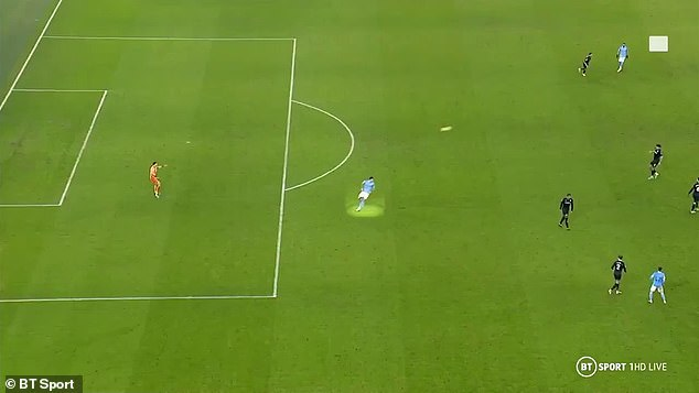 Man City's Rodri was clearly in an offside position before he stole the ball from Tyrone Mings
