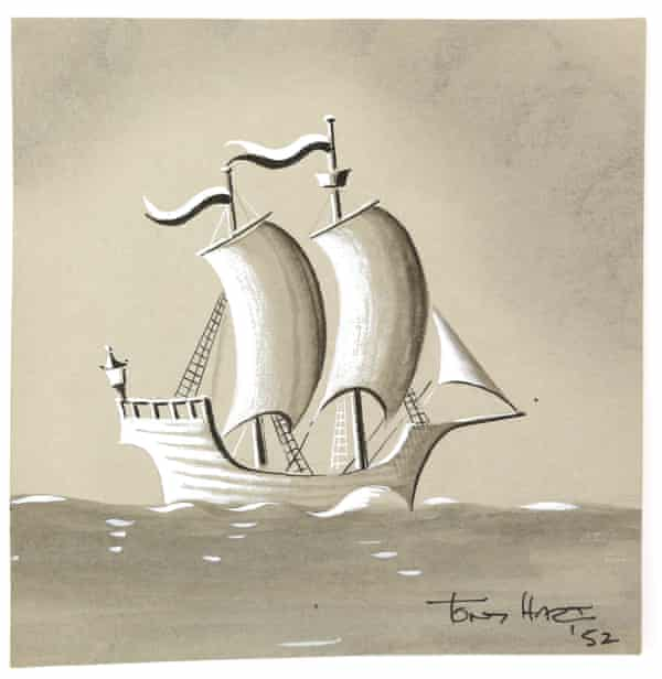 The ship Tony Hart drew for a 1952 BBC programme Saturday special