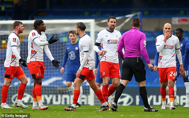 Luton players were furious over Chelsea's opening goal in their FA Cup match being allowed