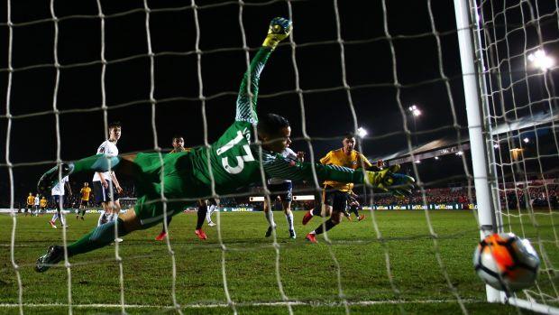 Pádraig Amond scores against Spurs in 2018. Photograph: Michael Steele/Getty