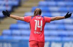 Fran Kirby of Chelsea celebrates after scoring their side's second goal.