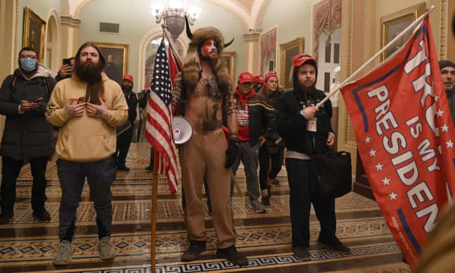 Trump supporters inside the US Capitol on 6 January.