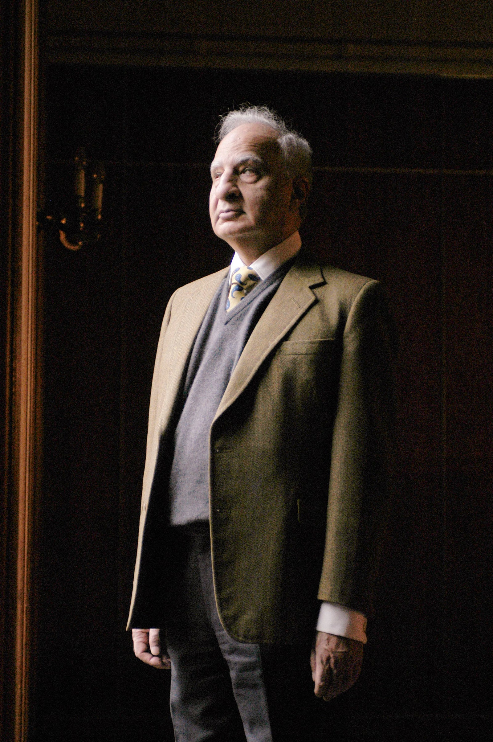 Ved Mehta standing looking off to the side in natural lighting