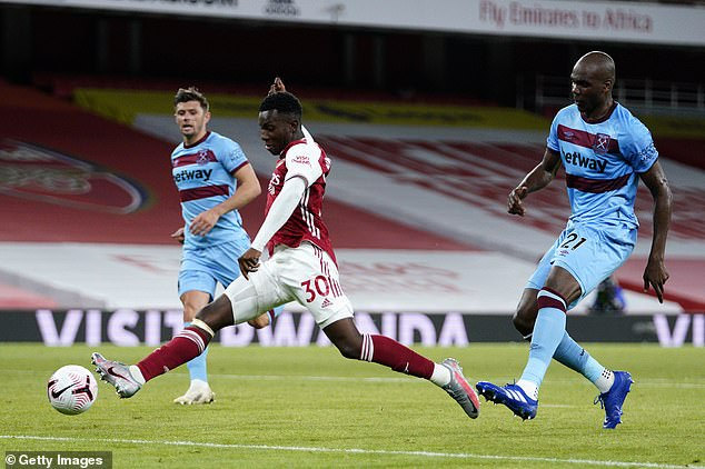 Nketiah scored the winning goal in Arsenal's 2-1 victory over West Ham back in September