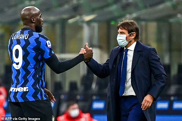 Antonio Conte (right) is heavily reliant on Romelu Lukaku (left) for attacking inspiration
