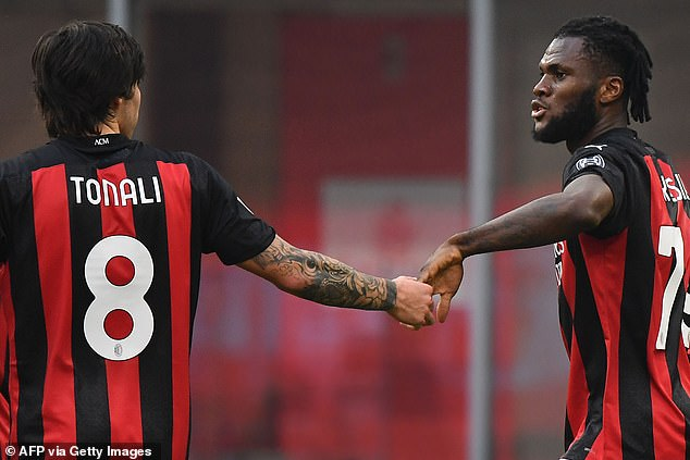 Sandro Tonali (left) is forming a solid midfield partnership with Franck Kessie (right)