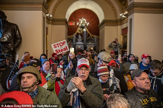 The mostly maskless crowd flooded the halls of the Capitol with little resistance from Capitol Police