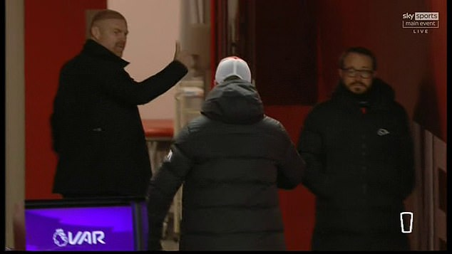 Klopp (middle) chased Dyche (left) down the Anfield tunnel as the argument became heated
